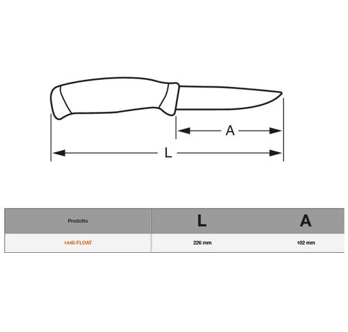 Coltello Galleggiante di Salvataggio con Manico Fluorescente 1446-FLOAT Bahco