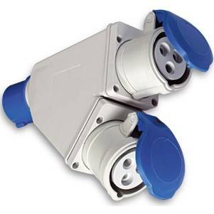 Industrial Adapter Double IP44 from Plug 2P + T 16A Blue Fanton 73105