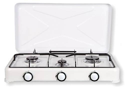 Gas Burner with 3 Burners White with Cover 4003 Lit Gas