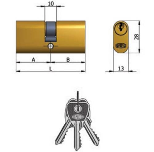 Double Oval Brass Cylinder (27 + 27) 140/03 Omec
