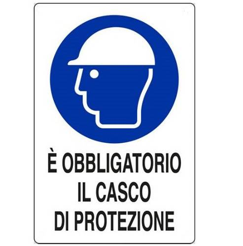 "Aluminum sign ""Protective helmet is required"" cm.20x30"