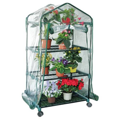 Greenhouse Rapid with Wheels 3 Shelves SCB12 Green World