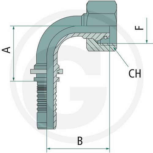 Press fitting PN 20 DKOL M26x1.5 90 ° 18L Art.87010121 Granit