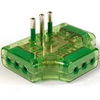 Adapter Triple Plate Italian plug 2P + T 10A S11 Fanton 82252