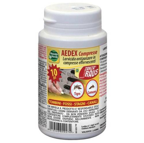Insecticide Larvae Mosquitoes AEDEX 10 Tablets Efferverscenti