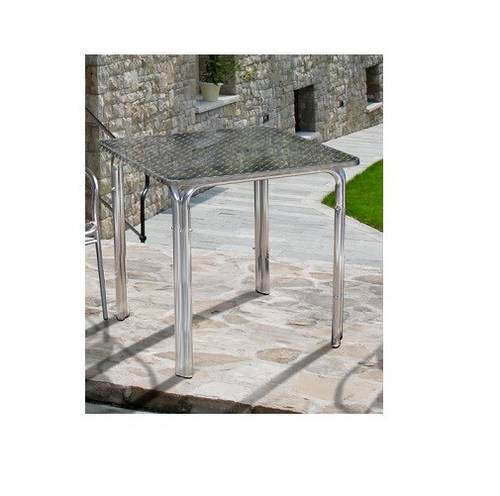 Outdoor Garden Square Table in Stackable Aluminum H 70cm 94978 Papillon