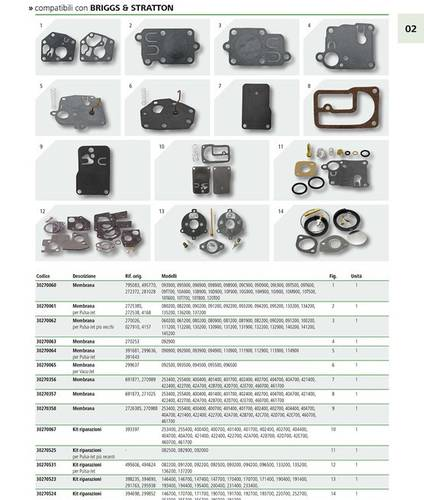 Briggs & Stratton Carburetor Membrane Art.30270060 Granit