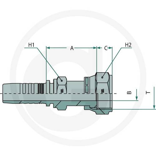 """Press fitting PN 20 DKORF 1 """"815M22411-12-10 Granit"""