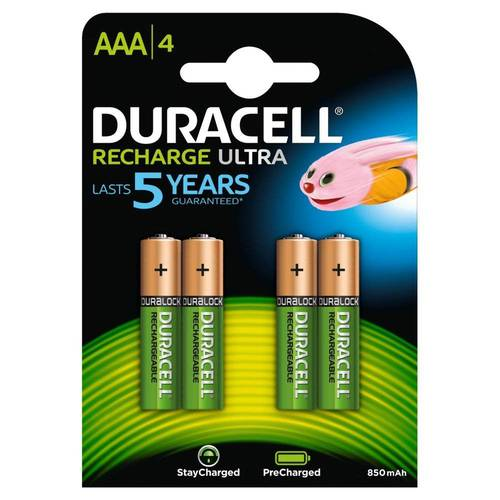 4 Rechargeable batteries MiniloileAAA 900mAh HR03 / DX2400 Duracell