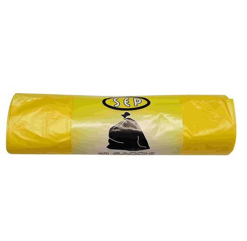 10 Yellow Plastic Separate Waste Collection Bags with Strength cm70x110 Sep
