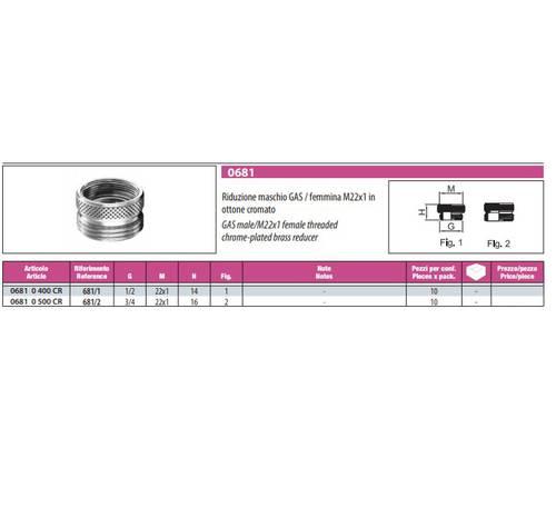"Aerator Reduction F22 / 1XM1 / 2 """