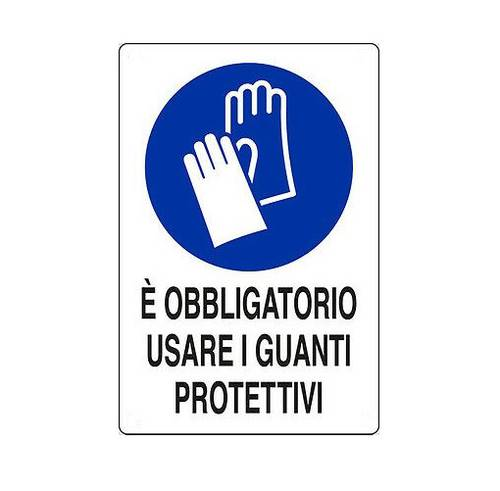 "Aluminum sign ""It is mandatory to use protective gloves"" 20x30 cm"