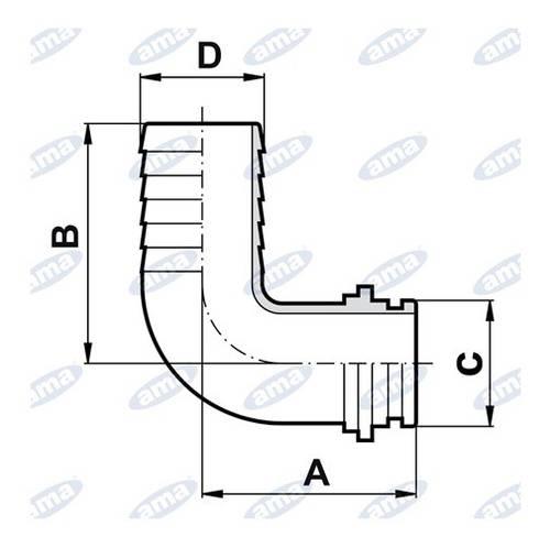 Curved Hose Connector G1 1/4 Art.02280 Ama