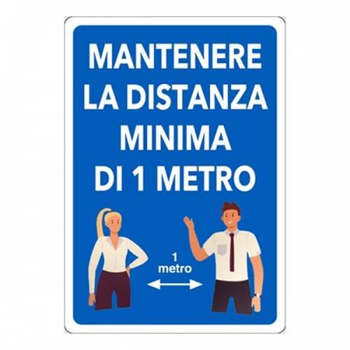 "Aluminum Signboard ""Maintain the Minimum Distance of 1-2 Meters"" cm.20x30"