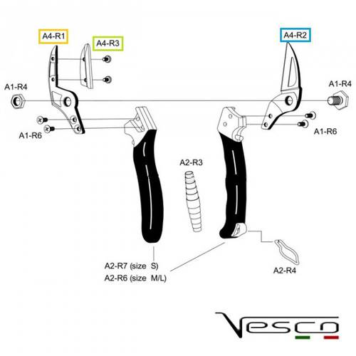 Spare parts for shears A4 Vesco
