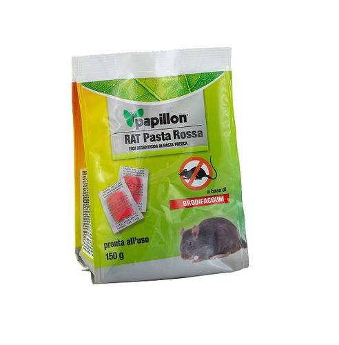 Bait Topicide Poison Mice in Sachets RAT Red Paste 150 gr Papillon