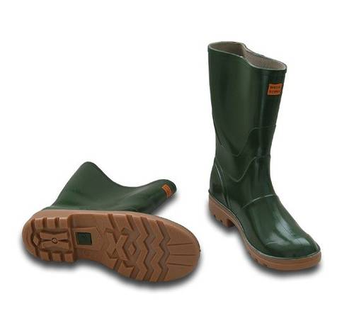 Green Rubber Knee Boots with Brown Sole