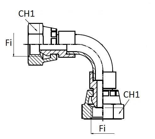 Adapter F / F Curve 90 °