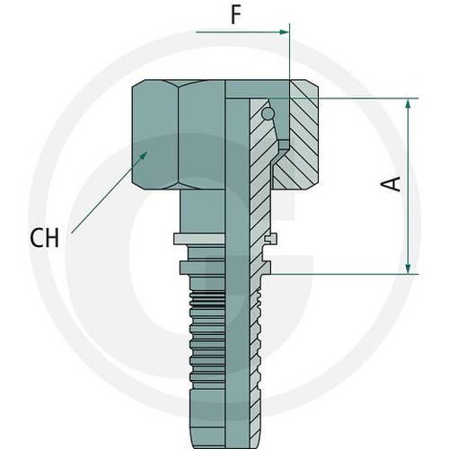 Press fitting PN 20 DKOL M26x1.5 18L Art.87010053 Granit