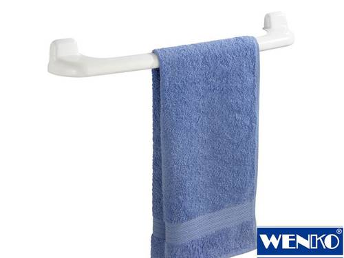 Wall Mounted Towel Holder in Sturdy Plastic 60cm White Wenko