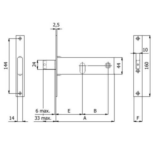 Reversible lock for bands 390 / F22 Omec
