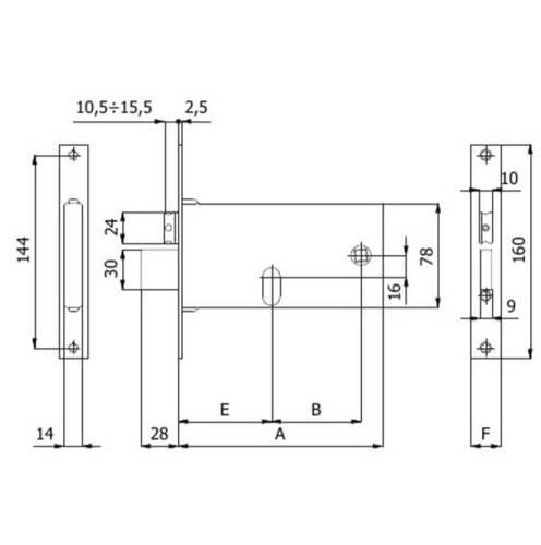 Reversible lock for bands 370 / F22 Omec8