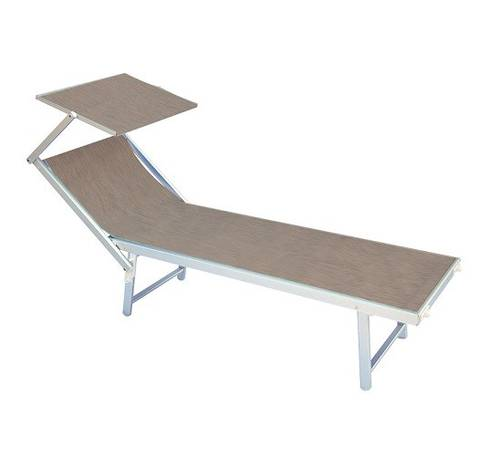 Sun Lounger for Beach Sea Pool in Aluminum with Parasol Dove-gray CLAT57T Moia Spa