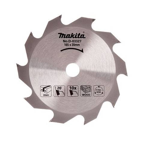 Disc Circular Saw Blade for Wood ø165mm Hole 20mm 10 Teeth D-03327 Makita