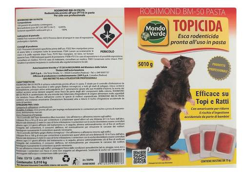 Bait Rodenticide Topicide RODIMOND BM-50 Red Pasta 5 kg Green World