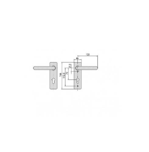 Handle with plate for locks for fire doors Model 07070 Cisa