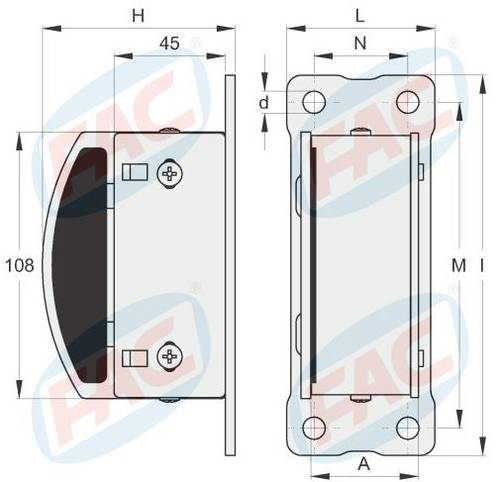 Swing door-meeting with plate 4 holes Electric locks Fix VC5211.040 FAC