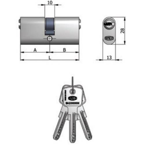 Double Nickel Plated Cylinder (30 + 30) 2140/04 H Omec