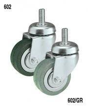 Rubber wheel with galvanized or chromed swivel support 602 / G Rocarr