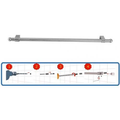 Bar Kitchen Chrome Artik 80cm + 6 Hooks Art.28.03.03