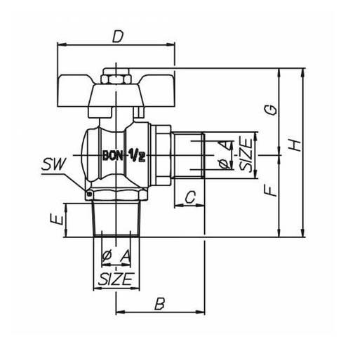 Ball Tap for Combustible Gas M / M G.0363 Bon Flex Enolgas