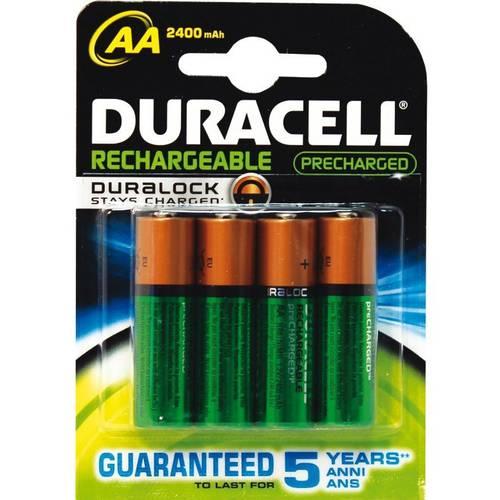 4 Pile Stilo Ricaricabili AA HR6 Duracell Plus