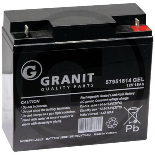 Battery GEL 12V 18Ah for mower SAE 57951814 GEL Granit