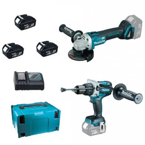 [Makita DLX2254TJ1 KIT] DHP481 Cordless Drill + DGA513 Angle Grinder + 3 Makita BL1850 Batteries
