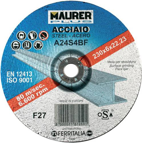 Depressed center grinding wheel for deburring Iron Maurer