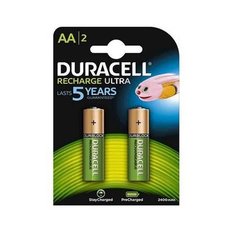 2 Rechargeable Batteries ULTRA AA DX1500 HR6 2500 mAh Duracell