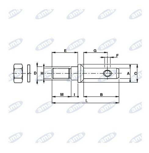 Pin for attachment tools ø22-22 M22x1,5 Art.00040 Ama7