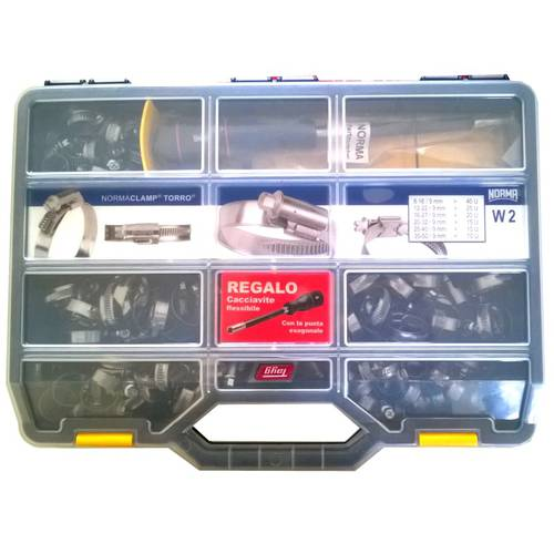 Assort. 120 Ties NormaClamp + Screwdriver Fless. + Case Norma