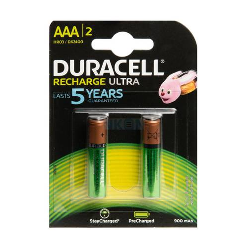 2 Rechargeable batteries AAA 900mAh Ministilo HR03 / DX2400 Duracell