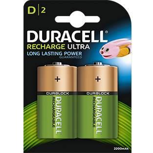 2 Pile Ricaricabili D HR20 2200mAh Duracell