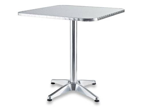 Outdoor Square Garden Table in Aluminum with Adjustable Feet 60x60 H70cm 780/49 White Double-Decker