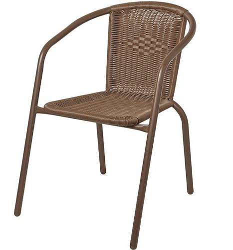Outdoor Chair Garden Chair LACHEA Polyrattan Painted Steel Papillon Brown