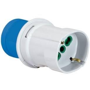 Adattatore Industriale da Spina 2P+T 16A CEE blu a Presa 2P+T 16A Bipasso/standard Tedesco Fanton 73100