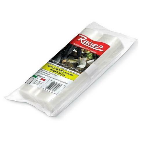 2 Rolls Embossed Bags for Vacuum Food 20x600 cm Reber 6726A