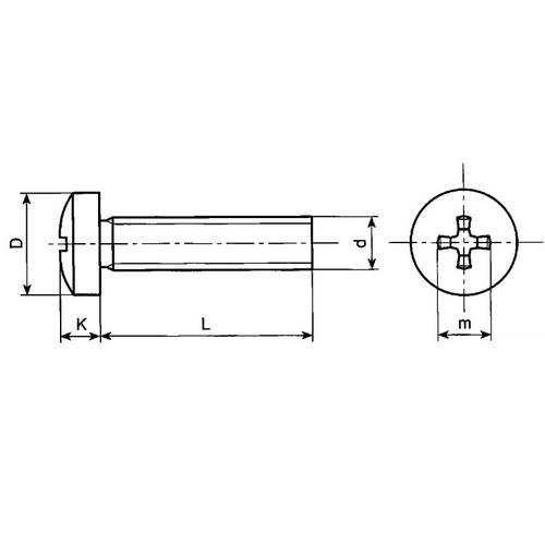 Screw Cylindrical Head Cross Footprint Phillips Galvanized 4.8 DIN 7985 - UNI 7687