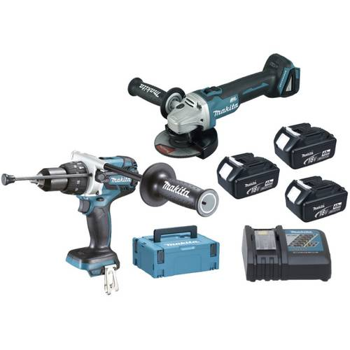 Combined kit DLX2130MJ1 Percussion Drill Grinder DGA504Z DHP481RMJ + 3 + Batt. Makita 18V 4,0Ah